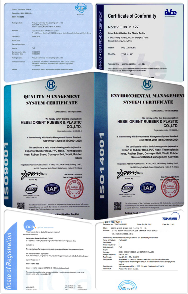 Rubber Covered Layflat Hose-certificate